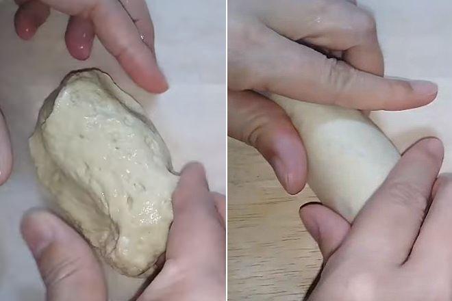 lăn miếng bột mì thành hình trụ