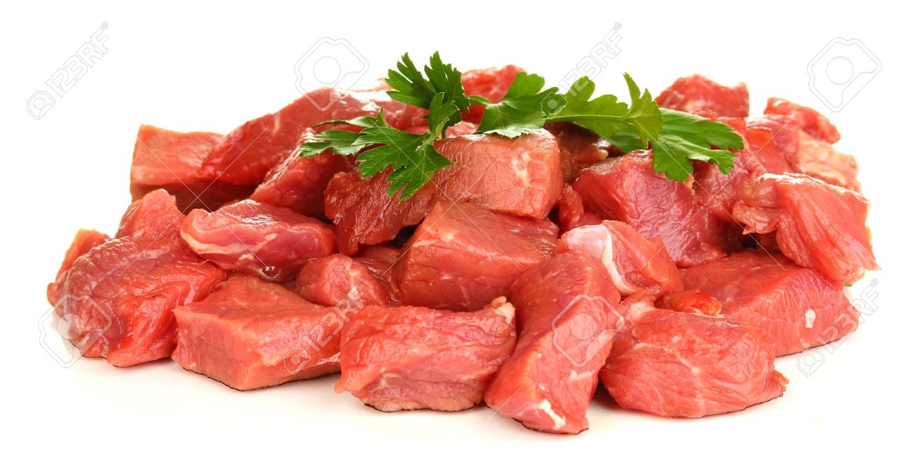 Raw Beef Meat Isolated On White Stock Photo, Picture And Royalty ...
