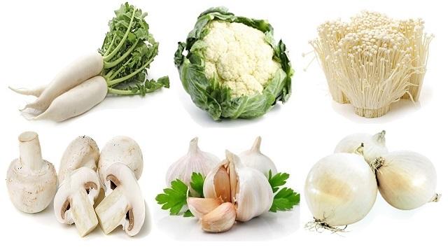 Lợi ích cực tốt từ các loại rau củ quả màu trắng