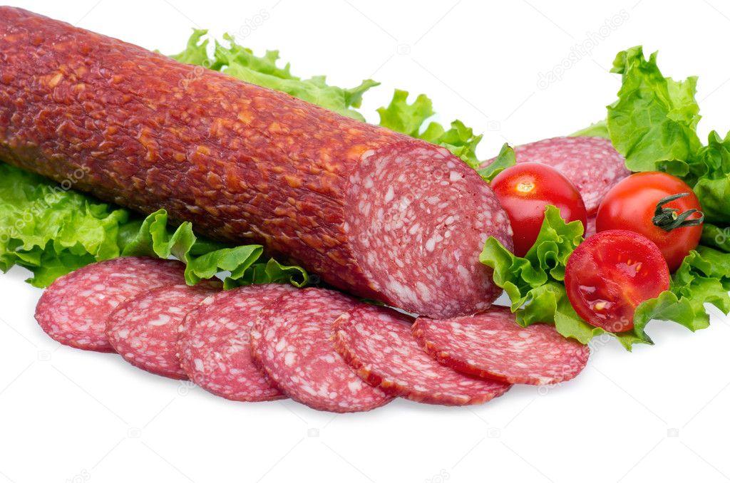 Tasty red salami — Stock Photo © IuriiSokolov #11391118