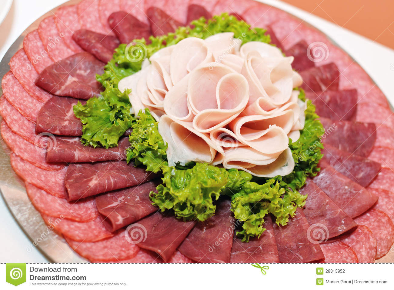 Plate with ham, salami stock photo. Image of fresh, pork - 28313952