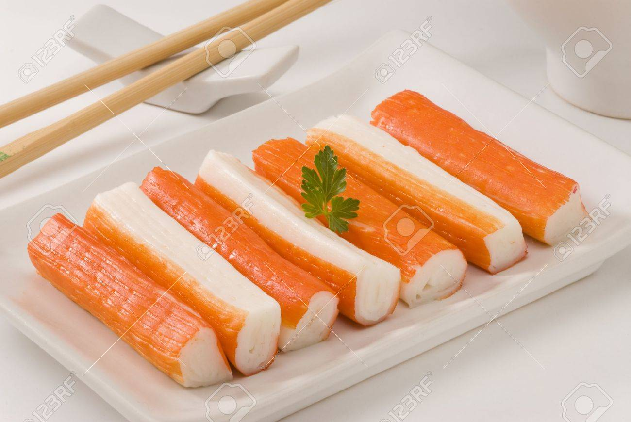 Surimi Or Crab Sticks In A White Plate. Selective Focus. White.. Stock Photo, Picture And Royalty Free Image. Image 15538332.