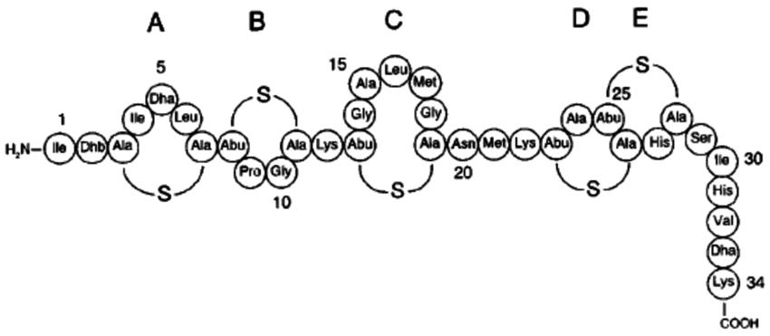 Molecular structure of nisin [9]. | Download Scientific Diagram