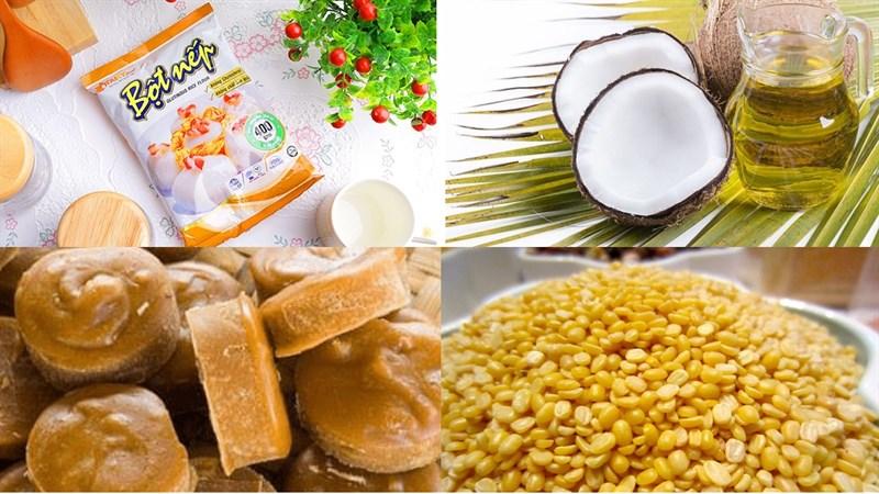 Nguyên liệu món ăn cách làm bánh ít nhân đậu xanh và nhân dừa