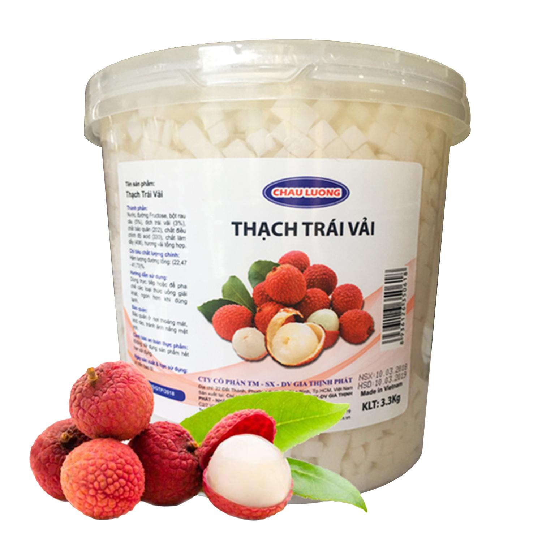 Thạch vải Chau Lương 3.3 kg - Nguyên liệu pha chế - Nguyên liệu trà sữa giá sỉ - Siêu Thị Nguyên Liệu