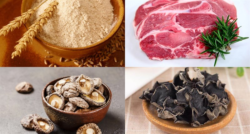 Nguyên liệu món ăn bánh bao nhân thịt miến