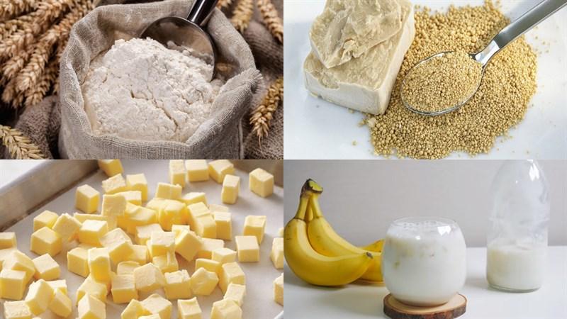 Nguyên liệu món ăn bánh bao nhân custard chuối